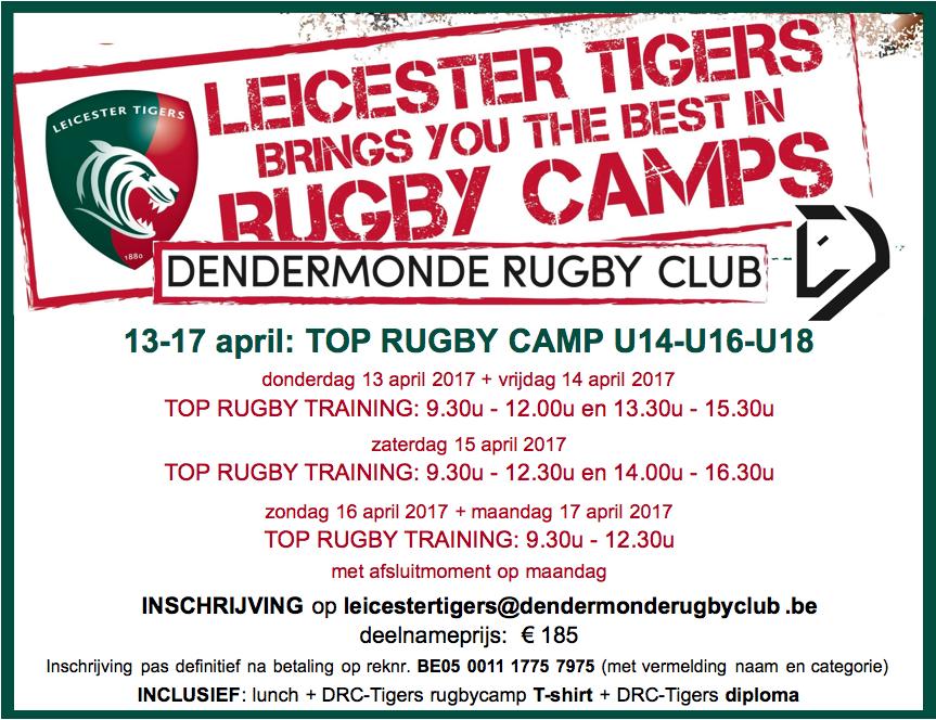 samenwerking Dendermonde rugby club en Leicester Tigers (UK)