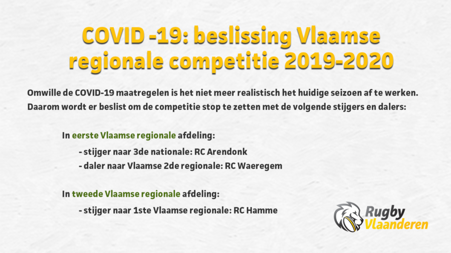 Stopzetting Vlaamse regionale competitie 2019-2020